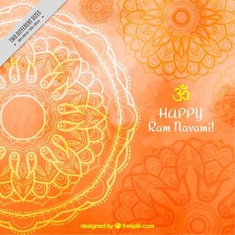 Arancione acquerello ram navami sfondo con mandala