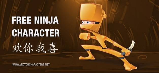 Arancione ninja carattere vettoriale