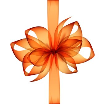 Arancione trasparente fiocco e nastro vista dall'alto close up isolati su sfondo bianco