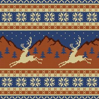 Arazzo in lana lavorata a maglia con cervi