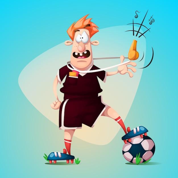 Arbitro di calcio divertente simpatico cartone animato