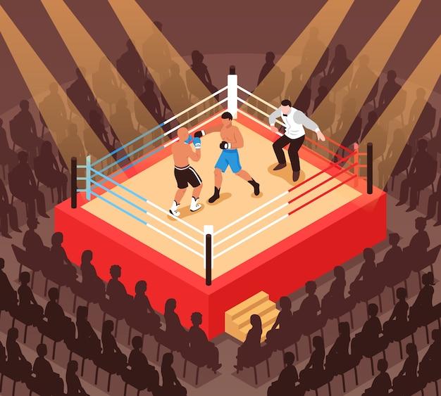 Arbitro e combattenti durante la partita di pugilato sul ring e le siluette dell'illustrazione isometrica degli spettatori