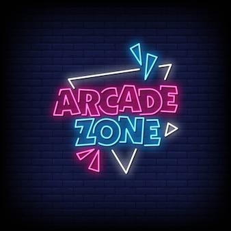 Arcade zone testo di insegne al neon