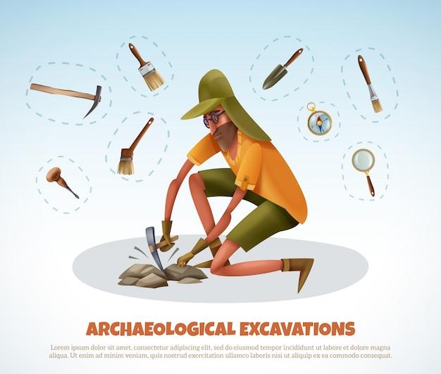 Archeologia con stile doodle uomo scavando terra e pezzi isolati di attrezzature di scavo con testo