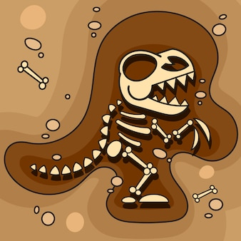 Archeologia. scheletro di dinosauro in terra. scavi di ossa di dinosauro. strumenti archeologici. vettore