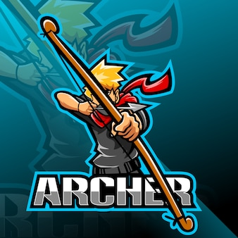 Archer esport design del logo mascotte