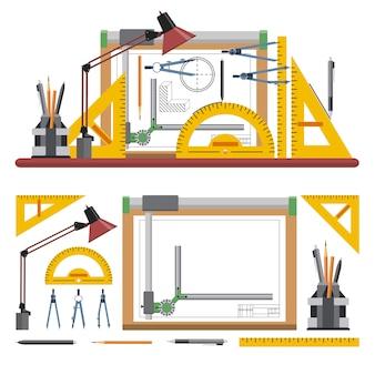 Architetti e designer sul posto di lavoro illustrazione vettoriale in stile piano. strumenti e strumenti di disegno. lavagna.