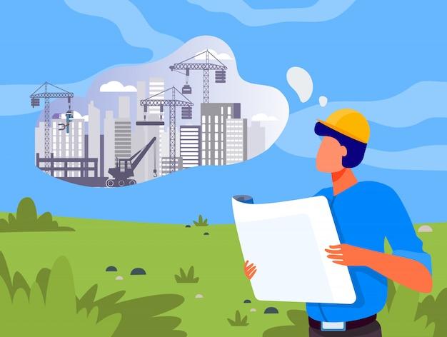 Architetto con costruzione di pianificazione blueprint sul prato