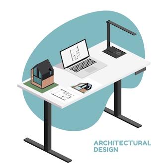 Architetto desktop isometrico con strumenti tra cui laptop, lampada e piano di costruzione, modello architettonico di casa, rendering documento.