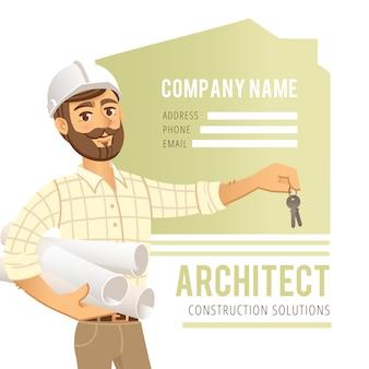 Architetto in casco con cianografie e chiavi in mano. ingegnere di costruzione del personaggio.