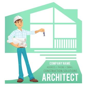 Architetto in casco con i modelli e le chiavi a disposizione contro fondo della casa costruita