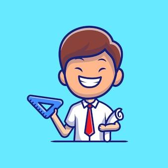 Architetto maschio con triangolo righello e rotolo di carta icona del fumetto illustrazione. persone professione icona concetto isolato. stile cartone animato piatto