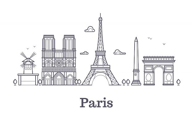 Architettura francese, illustrazione del profilo di vettore dell'orizzonte della città di panorama di parigi