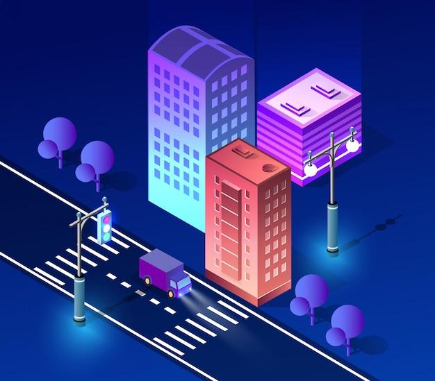 Architettura ultravioletta di paesaggio urbano di notte