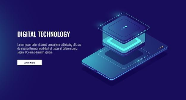 Archiviazione di dati di dati personali, smartphone con icona del database, contabilità dei dati