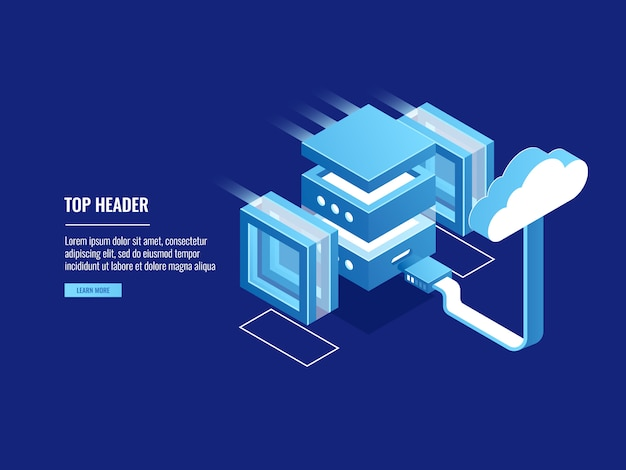 Archiviazione su cloud, hosting di server web remoto, magazzino di informazioni, connessione di accesso ai file