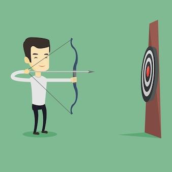 Arciere che punta con arco e freccia verso il bersaglio.