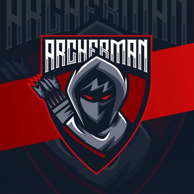 Arciere uomo mascotte esport logo design