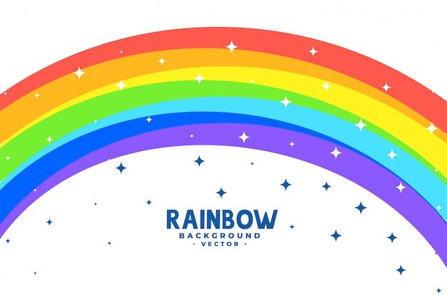 Arco arcobaleno curva con sfondo di stelle