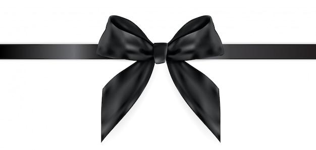 Arco decorativo nero con nastro isolato su bianco 3d realistico