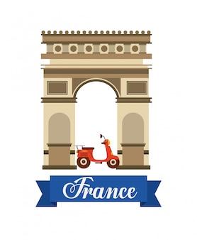 Arco di trionfo icone di viaggio