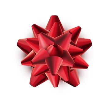 Arco lucido rosso del regalo isolato su bianco