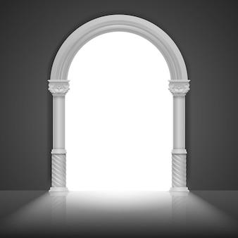 Arco romano con colonna antica. vector design del fotogramma titolo. struttura dell'arco di architettura, illustrazione greca antica di pietra della struttura