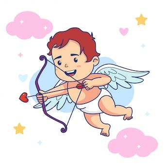 Arco sveglio della stretta di angelo del bambino del ragazzo e freccia di amore