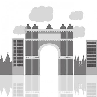 Arco trionfale della storia del sito di barcellona spagna