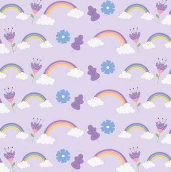 Arcobaleni nuvole fiori ornamento fantasia magia sogno simpatico cartone animato decorazione sfondo illustrazione