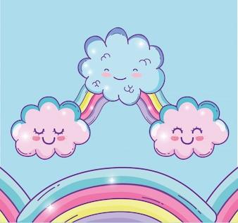 Arcobaleno carino con nuvole soffici kawaii