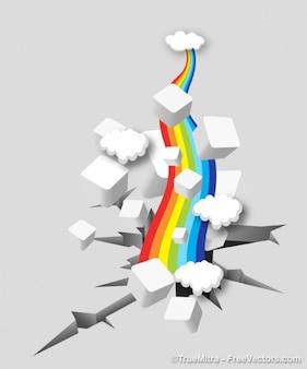 Arcobaleno colorato con cubi bianchi e nuvole