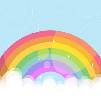 Arcobaleno colorato illustrato in nuvole