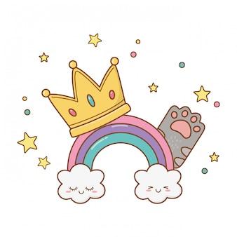 Arcobaleno con corona e zampa di gatto