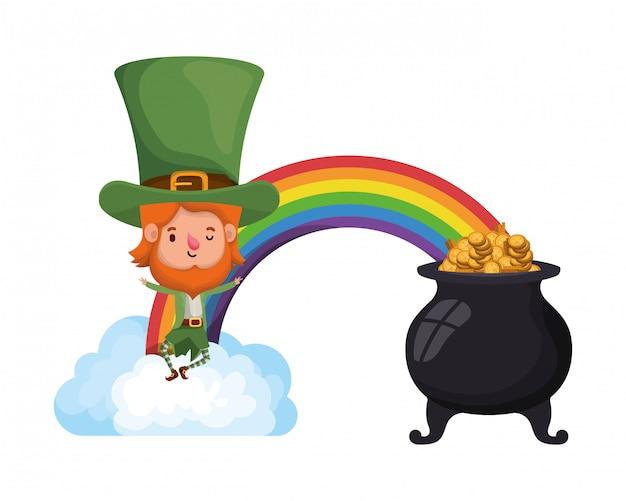 Arcobaleno con icona isolata calderone leprechaun