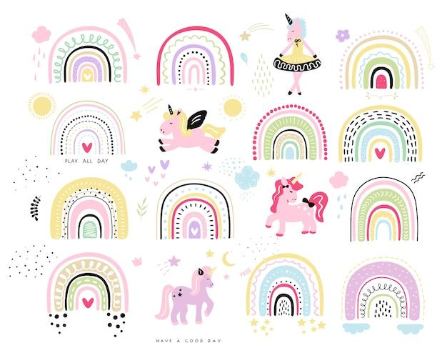 Arcobaleno con illustrazione di unicorno