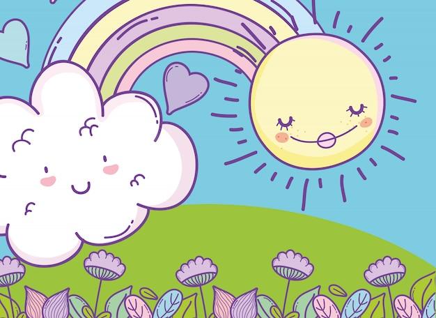 Arcobaleno con nuvola kawaii e sole felice