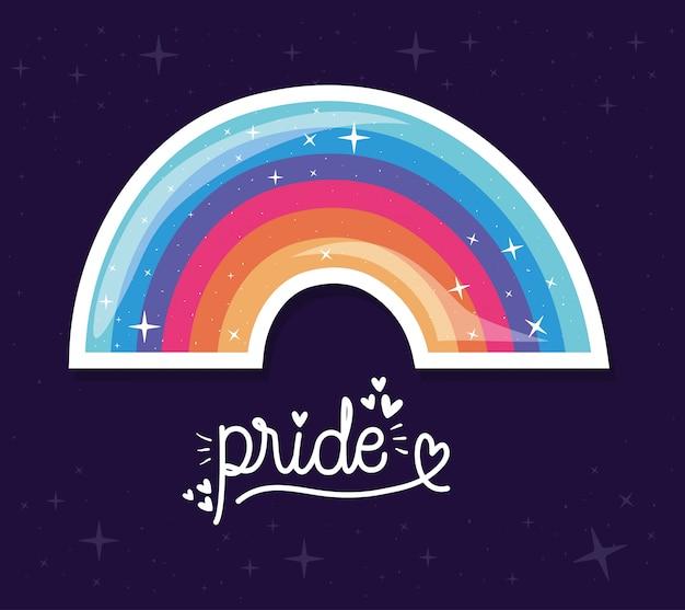Arcobaleno di lgtbi con progettazione del testo di orgoglio, orientamento sessuale di amore di orgoglio e illustrazione di tema di identità