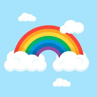Arcobaleno di stile piano con nuvole
