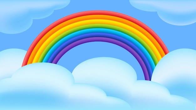 Arcobaleno e nuvole illustrazione vettoriale in stile piano.