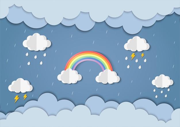 Arcobaleno nel cielo piovoso arte di carta