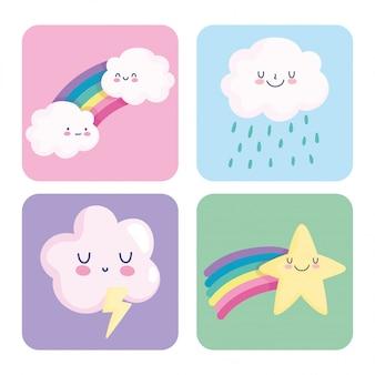 Arcobaleno nuvole stella cadente fulmine pioggia cartone animato decorazione carte illustrazione vettoriale