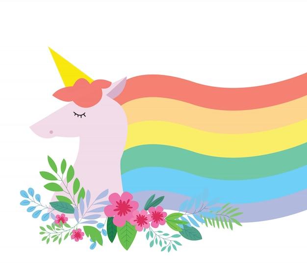Arcobaleno unicorno incantevole con fiore