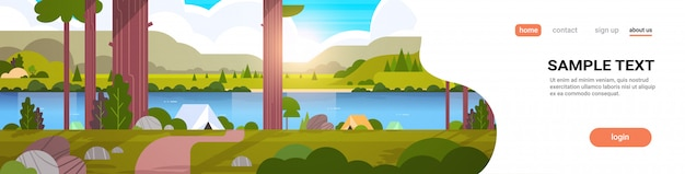 Area di campeggio tende nel concetto di campo estivo foresta giornata di sole alba paesaggio natura con acqua montagne e colline