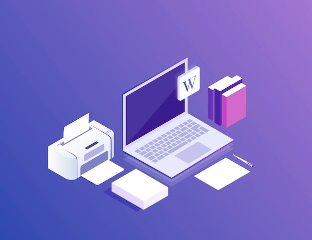 Area di lavoro 3d isometrica piatta. dispositivi impostati su ultravioletti. laptop, stampante, carta. illustrazione moderna