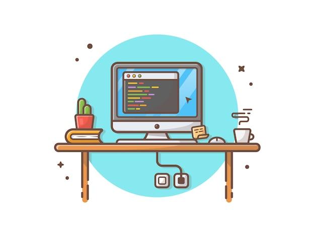 Area di lavoro del programmatore di codifica con l'illustrazione di clipart di vettore del cactus, del caffè e del libro