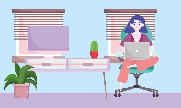 Area di lavoro dell'ufficio domestico, donna seduta al tavolo e illustrazione di lavoro
