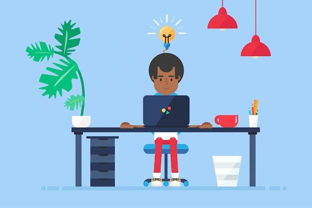 Area di lavoro di professional afro-american working developer, programmer, system administrator o designer con scrivania, sedia, notebook.