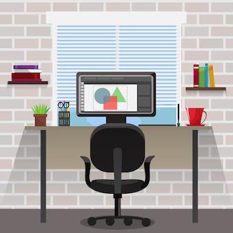 Area di lavoro per la composizione nel progettista con il computer e lo scrittorio vicino agli scaffali per libri della finestra sull'illustrazione grigia di vettore del muro di mattoni