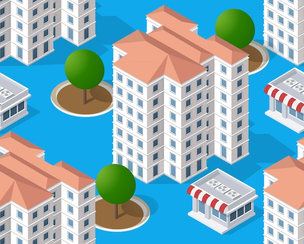 Area isometrica urbana con alberi da costruzione